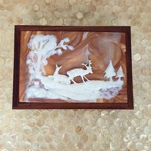 Hand Crafted Walnut Wood Deer Jewellery Box